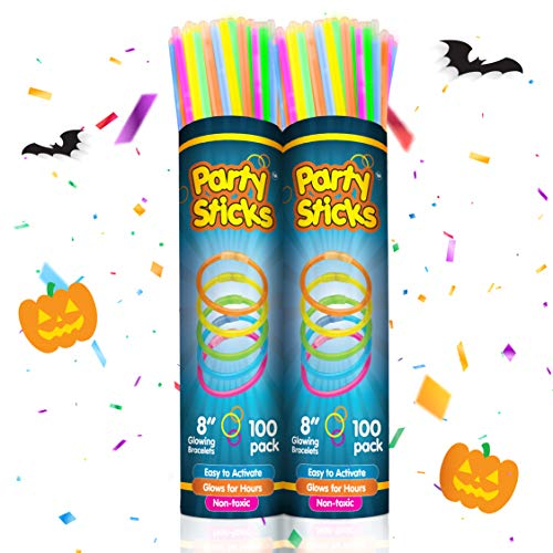 Falls Church Costume Store (PartySticks Glow Sticks Jewelry Bulk Party Favors 200pk with Connectors - 8 Inch Glow in The Dark Party Supplies, Neon Party Glow Necklaces and Glow)