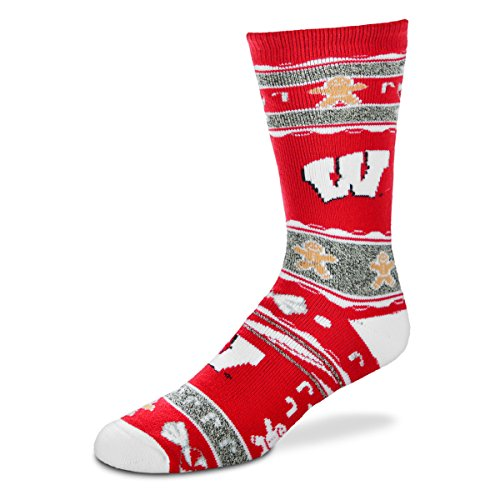 Wisconsin Badgers Ugly Christmas Socks, Large - Wisconsin Badger Logo Watch