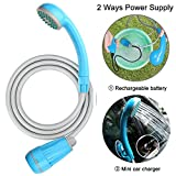 innhom Portable Camping Shower Camp Shower Powered by Rechargeable Battery or Car Cigarette Lighter, Great Outdoor Shower for Camping, Pet Cleaning, Car Washing, Plants Watering-1 Year Warranty