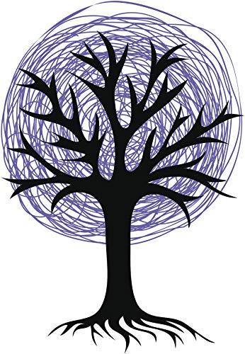Cool Colorful Creepy Halloween Tree Pencil Sketch Cartoon Vinyl Sticker (2