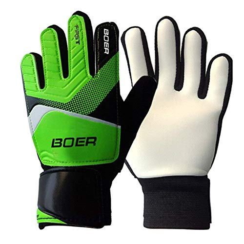 Roverstarshop 5-7# Children Kids Youth Outdoor Sport Football Soccer Goalkeeper Goalie Training Gloves Gear (Green, - Soccer Goalkeeper Ball Training