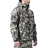 FREE SOLDIER Men's Outdoor Waterproof Soft Shell Hooded Military Tactical Jacket(ACU Camouflage XL)