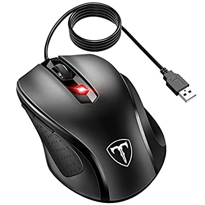 VicTsing 6-Buttton Wired USB Optical Mouse Optical Mice, 4 Adjustable DPI Levels (3200/2400/1600/1000), with 5ft Cord, Support Notebook, PC, Laptop, Computer