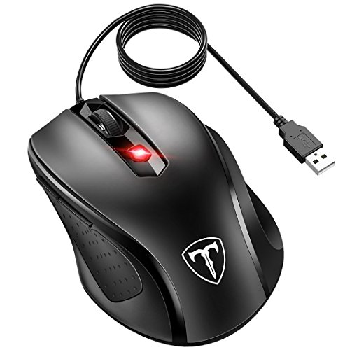 Optical Scrolling Mouse Usb - VicTsing 6-Buttton Wired USB Optical Mouse Optical Mice, 4 Adjustable DPI Levels (3200/2400/1600/1000), with 5ft Cord, Support Notebook, PC, Laptop, Computer, Macbook