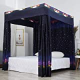 Mengersi Galaxy Star Four Corner Post Bed Curtain Canopy Bedroom Decoration for Girls Adults Windproof Lightproof Bed…