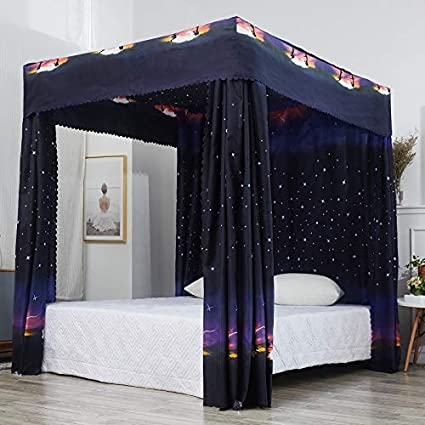 Amazon.com: Mengersi Galaxy Star Four Corner Post Bed Curtain Canopy ...