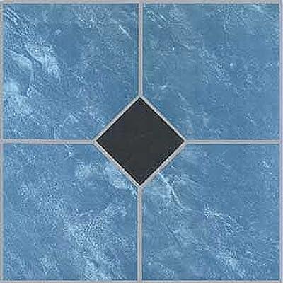 "12"" x 12"" Vinyl Tile in Blue Marble / Black Diamond Quantity: 20 Pieces"