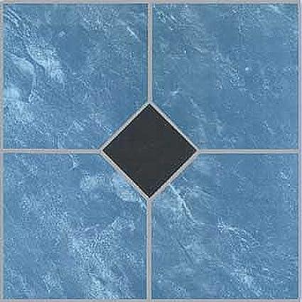 12 X 12 Vinyl Tile In Blue Marble Black Diamond Quantity 20