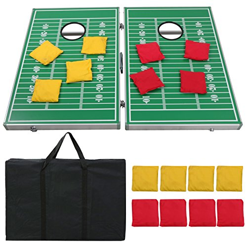 ZENY 3' x 2' Portable Beanbag CornHole Toss Game Set w/ 8 Bean Bags,Score Rule and Nylon Carrying Case for Tailgate Party Backyard (Silver Tailgate Toss)