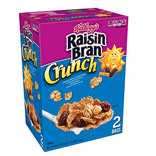 Kellogg's Raisin Bran Crunch, Breakfast Cereal, Original, Good Source of Fiber, 43.3 oz Box