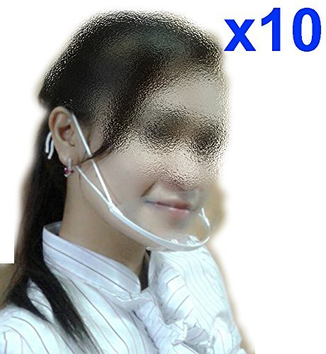 (Pack of 10) Tamegems Health and Sanitay Face Mouth Plastic Mask Breathing Mouth Spit Guard Service Mask Transparent Best for Food Processing Cooking Resturant Hotel Waiters Waitress Bar Attendant Saliva by Tamegems