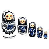 Authentic Russian Hand Painted Handmade Blue Nesting Dolls Set of 5 Pcs Matryoshkas