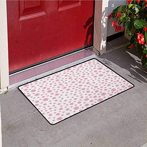 (GloriaJohnson Pearls Front Door mat Carpet Pattern with Large Small Baby Pink Color Pearls Precious Stones Nursery Bridal Print Machine Washable Door mat W15.7 x L23.6 Inch Pink White)
