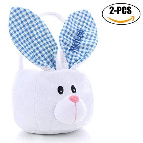Easter Basket, Coxeer 2PCS Easter Egg Basket Cute Rabbit Shaped Gift Bag Bunny Candy Bag for Kids