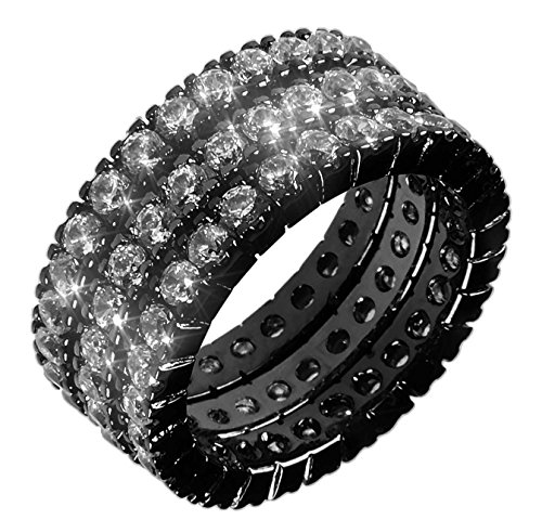 3mm Band Sterling Silver Antiqued (3mm/9mm (Metallic Black Rhodium) .925 Sterling Silver Three Band Handset Clear Crystal CZ Eternity Band Ring Set 5-10 (7))