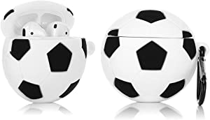 LEWOTE Airpods Silicone Case Funny Cover Compatible for Apple Airpods 1&2[Sport Ball Design][Best Gift for Kids Boys Girls] (Football)