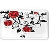Memory Foam Bath Mat,Gothic Decor,Ornate Swirling Branches with Roses Garden Floral Gothic Grunge Style European ArtworkPlush Wanderlust Bathroom Decor Mat Rug Carpet with Anti-Slip Backing,Red Black