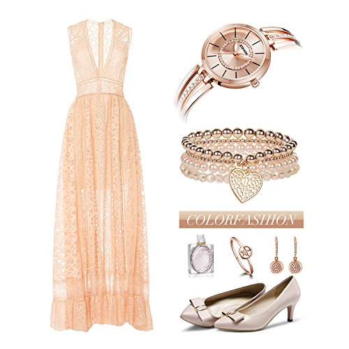 ETEVON Women's 'Crystal Bridge' Quartz Analog Watch with Luminous Pointers and Rose Gold Bracelet Waterproof, Fashion Dress Wrist Watches for Women by ETEVON (Image #4)