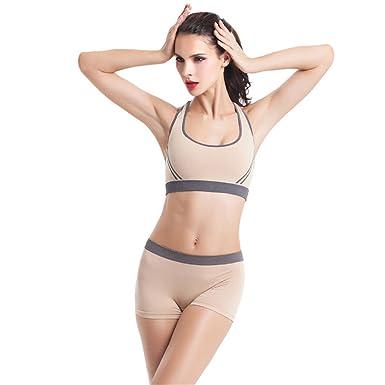 8668c348a52 Vertvie Femme 2 Pièces Ensemble de Sport Soutien-Gorge Bra Yoga sans  Armature Boxer Short