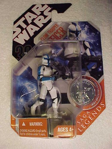 (Star Wars * BLUE Clone Trooper Officer * 30th Anniversity SAGA Legends Series * PLUS Exclusive Collector Coin)