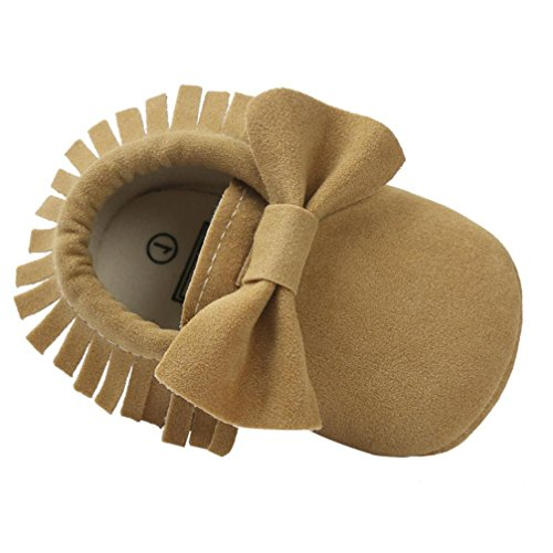 Voberry Baby Boys Girls Tassel Bow Soft Sole PU Leather Loafers Moccasin Sneakers (3~6 Month, Khaki)