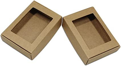 3.3x2.4x0.9 50Pcs Blank DIY Brown Kraft Paper Small Gift Crafts Wrapping Boxes with Rectangle Hollow Out Window with No Cellophane Cover Reusable Wedding Party Favor 8.5x6x2.2cm