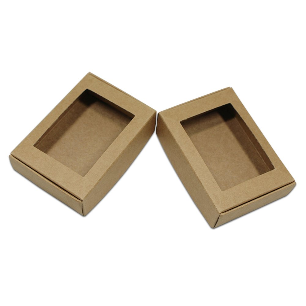 Visible Kraft Paper Gift Wrapping Boxes Merchandise Take Out Container Jewelry Necklaces Gift Favor Cardboard Box Candy Chocolate Food Storage Cake Craft Pack (250, 3.7x2.4x1.2 inch / Square Window)