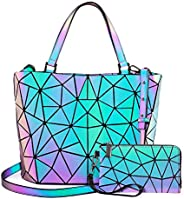LOVEVOOK Geometric Luminous Purses and Handbags for Women Holographic Reflective Crossbody Bag Wallet