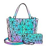 LOVEVOOK Geometric Luminous Purses and Handbags for Women Holographic Reflective Crossbody Bag Wallet