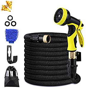 "Garden Hose, 50ft Flexible Strongest Hose with Double Latex Core 3/4"" Solid Brass Fittings Extra Strength Fabric-9 Functions Spray Nozzle for Home & Garden Washing Water Hose Expandable Garden Hose"