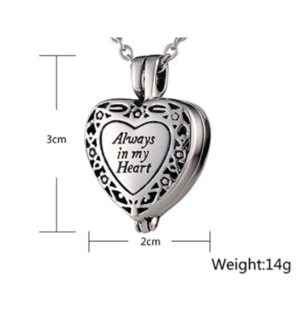 Lauren Annabelle Studio Always in my Heart Cremation Urn Jewelry Stainless Steel Pendant Locket Necklace for Men and Women
