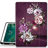 iPad Pro 10.5 Case, Hocase Trifold Folio Smart Case with Apple Pencil Holder, Unique Design, Auto Sleep/Wake Feature, Soft TPU Back Cover for iPad Model A1701/A1709 - Royal Purple/White Flowers