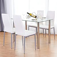 TANGKULA 5 PCS Dining Table Set Modern Tempered Glass Top...