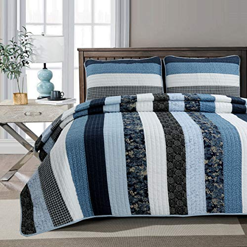 Cozy Line Home Fashions Netta Navy/Blue/White Striped Cotton Quilt Bedding Set, Reversible Coverlet,Bedspread Gifts for Men/Women(Floral Stripe, Queen -3 Piece)