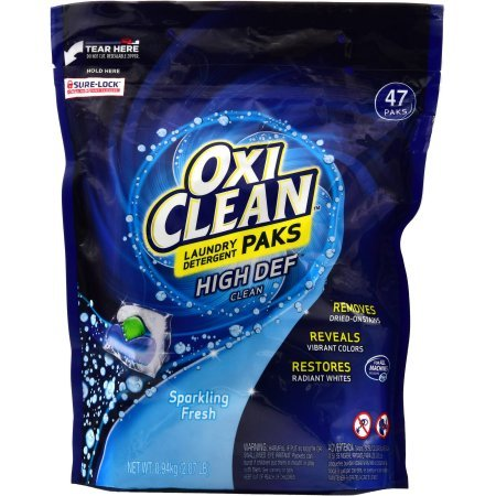 OxiClean HD Laundry Detergent Paks, Sparkling Fresh, 47 Count (6) by OxiClean