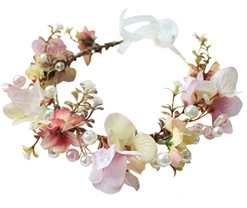 Vivivalue Flower Wreath Crown Boho Flower Headband Hair Garland Floral Headpiece Halo with Ribbon Wedding Party Festival Photos Pink