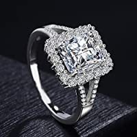 suwanpoomshop 5ct Princess Cut Diamonique Cz Wedding Ring Womens 925 Silver Jewelry Size 5-10 (5)