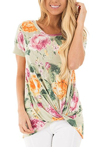 Dokotoo Womens Casual Summer Short Sleeve Floral Blouses and Shirts Tops for Juniors Green (Floral Blouse Shirt Top)