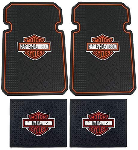 Harley Davidson Front Rear Rubber Elite Floor Mats Logo 4 Pcs Set Truck SUV Car