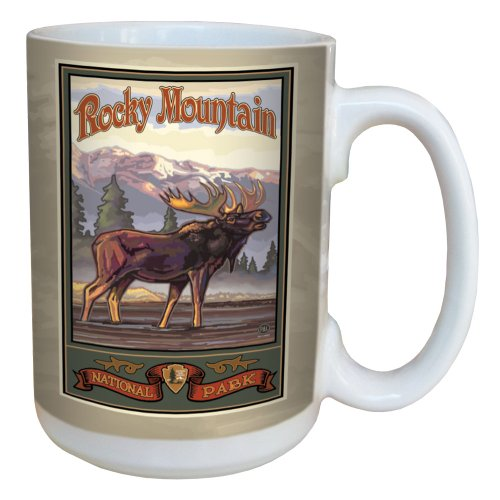 TreeFree Greetings 79422 Rocky Mountain National Park Moose by Paul A. Lanquist Ceramic Mug with Full-Sized Handle, 15-Ounce, Multicolored