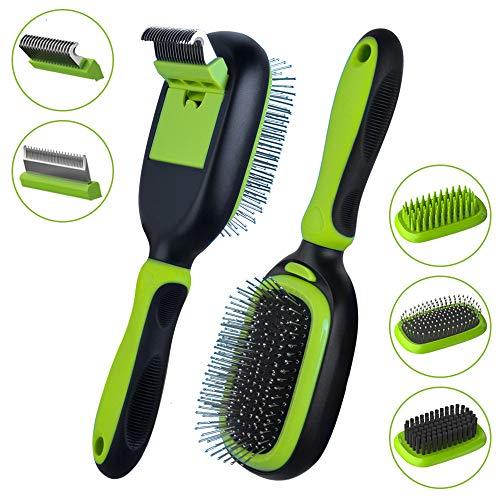 5 in 1 Pet Grooming Kit for Dogs and Cats, Dual Side Pet Grooming Brush Set, Detachable Pet Hair Dematting Comb, Desheeding Comb, Bristle Brush, Pin Brush, Bath Brush