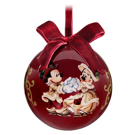 Disney Parks Victorian Découpage Minnie and Mickey Mouse Christmas Ornament
