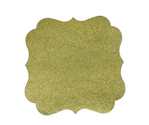 PaperGala Glitter Chargers Paper Board Placemats for Plates Weddings 10 Pack (Gold)