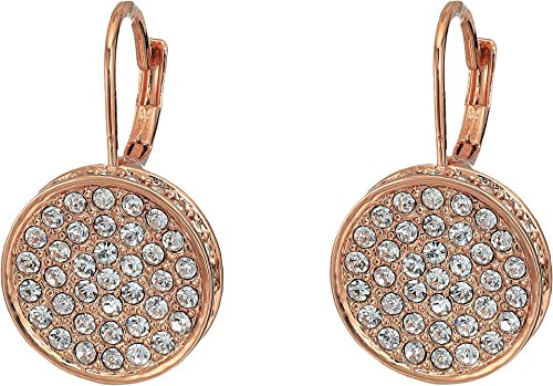 (Vince Camuto Women's Rose Gold Pave Round Leverback Earrings Rose Gold One)