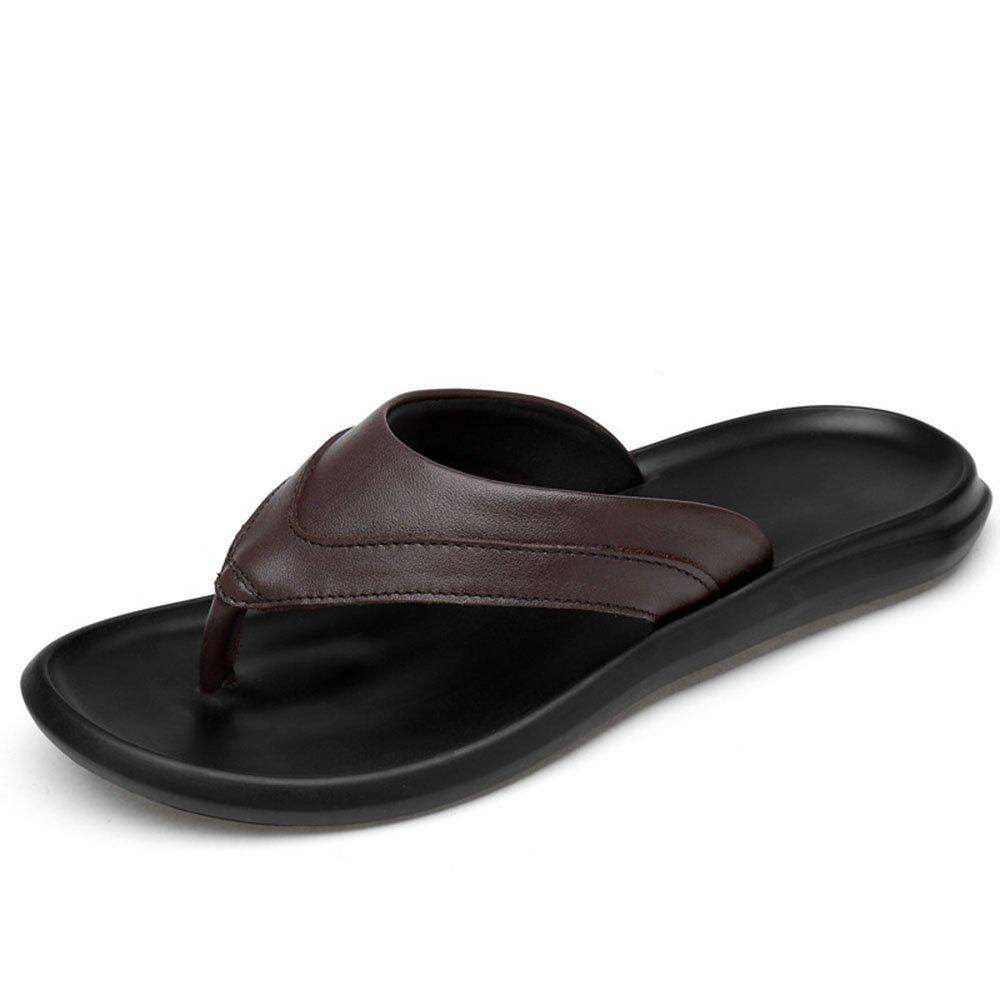 MKTSL Sommer neue groszlig;e Grouml;szlig;e Herren Hausschuhe Flip Flops koreanische Version der ersten Schicht aus Leder Sandalen Strand Schuhe  44|Braun 01