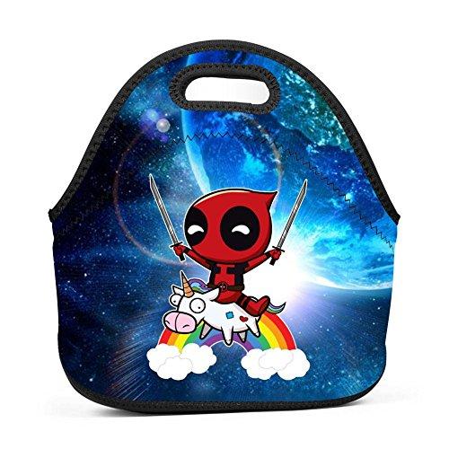 TADAWZD Riding a Unicorn Lunch Bag Insulated Neoprene Handbag Cosmetic Bag Unisex
