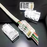 CESS Pass Through Type RJ45 RJ-45 8P8C CAT5 CAT5e Modular Ethernet Gold Plated Net Network End Plug Cable Connectors (LW) (20 Pack) 5