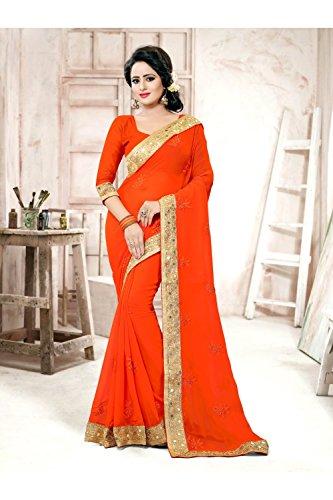 Da Facioun Saris Indiens Pour Les Femmes Sari Traditionnel Ethnique Portent Partie Concepteur De Mariage Orange, 81