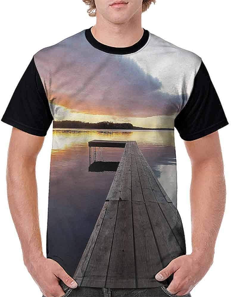 Classic T-Shirt,Rustic Pier Sunset Lake Fashion Personality Customization