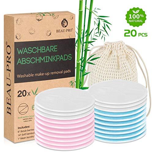 Abschminkpads Waschbar | 20 wiederverwendbare Bio-Bambus & Baumwolle Wattepads mit Wäschesack | Perfekt zum Reinigen von…